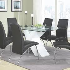 contemporary glass top dining room sets. Coaster Home Furnishings 120821 Contemporary Glass Top Dining Table, White Room Sets