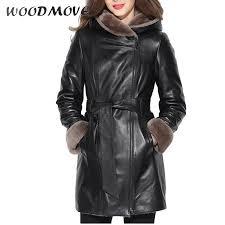 2019 women genuine leather jacket las shearling full sleeve hooded wool jackets adjule waist zippers winter coats from zhusa 823 57 dhgate com