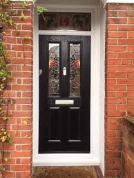 black 2 panel 2 square composite front door with bespoke glass