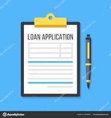 Loan Application Form Vector Loan Application Form Clipboard And Pen Stock Vector