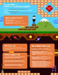 Geeky Pixel And Video Game Inspired Resume Darling Stewie