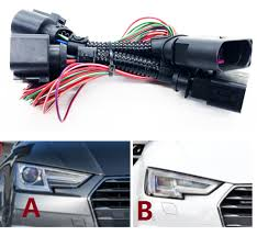 hid led headlights connecting wire harness matrix headlight adapter hid led headlights connecting wire harness matrix headlight adapter for audi a4 b9 headlight conversion line in cables adapters sockets from automobiles