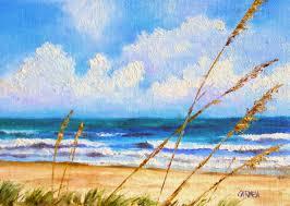 sun on the beach 7x5 oil painting on canvas panel seascape