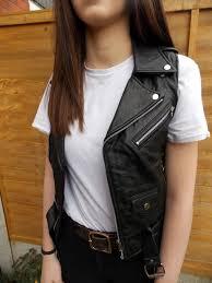 womens clothes womens black sleeveless leather biker jacket vjnncnxevl
