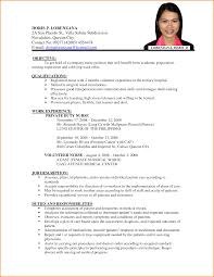 Examples Of Resume For Job Application Filipino