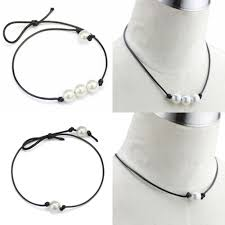 details about women black leather cord single pearl pendant choker necklace jewelry