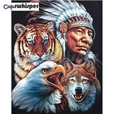 Diamond Painting Full Square/<b>Round</b> Drill Indian Wolf Eagle <b>Tiger</b> ...