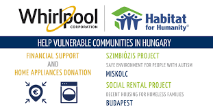 whirlpool home appliances logo. whirlpool emea and habitat for humanity together to help vulnerable communities in hungary home appliances logo