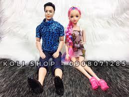 Combo búp bê Ken và búp bê Barbie khớp kèm 6 đôi giày và 10 bộ quần áo -  koli0133