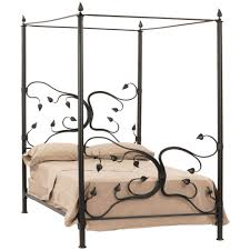 Bed Linen Decorating Simple King Size Bed With Black Iron Canopy And Gray Leather