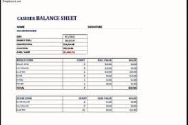 MS Excel Cashier Balance Sheet Template | TemplateZet
