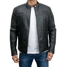 men s faux leather biker slim fit jacket zoom back