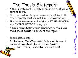 your handy dandy guide to organizing a proper paragraph essay  the thesis statement a thesis statement is simply an argument that you are going to prove