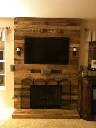 pallet fireplace surround made with pallet wood