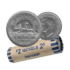 1940 Canadian 5 Cent Beaver Nickel Coin Roll Circulated