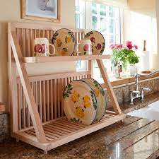 wooden plate rack wall mounted plate rack