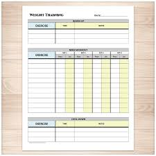 weight training planning weight training daily log with warm up and cool down printable at