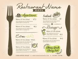 Restaurant Menus Layout Restaurant Placemat Menu Design Template Layout