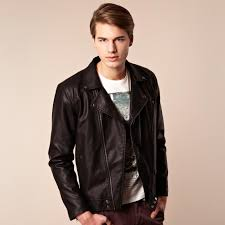 red faux leather jacket men
