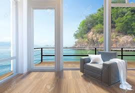 empty modern living room interior with large windows and sea view background 3d rendering stock empty84 living