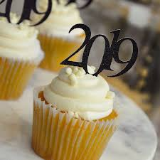 Glitter Black 2019 Graduation Cupcake Toppers 1 Pack Of 12 Toppers