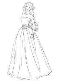 Excellent Dress Coloring Page Best Barbie Dresses Coloring Pages