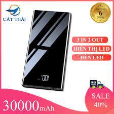 Giá T4: Cát Thái Pin Sạc Dự Phòng 30000mAh Polymer 3M mini nhỏ gọn tiện  nghi cầm theo sạc nhanh thích hợp dùng iPhone XiaoMi OPPO AUS VIVO