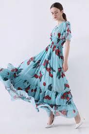 Cherry Hill Designer Dresses New 2019 Autumn Runway Design Dresses Women Elegant Sky Blue