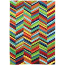 boho chevron stripes multi colored 5 ft x 7 ft indoor outdoor