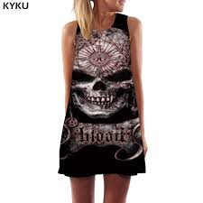 <b>KYKU Skull</b> Dress Women Black <b>Short</b> Geometric Korean Style Punk ...