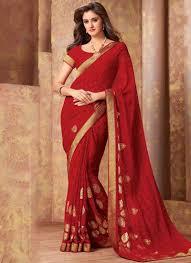 Designer Wear Sarees In Hyderabad Gorgeous Red Zari Prints Georgette Designer Sarees Online