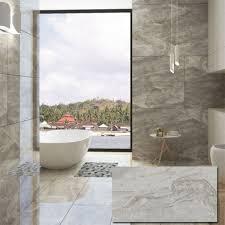 light grey polished porcelain wall