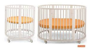 This fully convertible crib, courtesy of Stokke, begins as fully round  structure with included