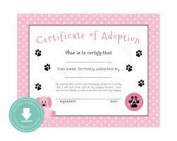 Pet Adoption Certificate Template Instant Download Puppy Adoption Certificate Puppy Birthday