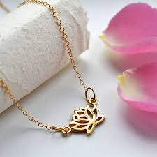 lily charmed gold lotus flower necklace
