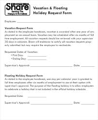 vacation forms for employees sample vacation request form forms and holiday policy template