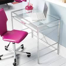 computer desk glass top metal frame clear home office versatile furniture new