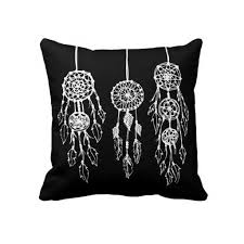 pillow drawing design. black white illustrated bohemian dreamcatchers custom decorative throw pillow design features a simple hand-illustrated pen and ink drawing of three hipster t