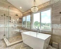 light over bathtub chandelier large trendy master brown tile beige and porcelain ceramic floor fixture