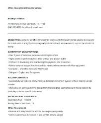 Hotel Front Desk Sample Resume Perfect Front Office Resume With