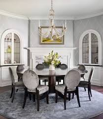 Dining Room:Calm Gray French Country Dining Room With Artistic Wallpaper  Ideas Grey Dining Room