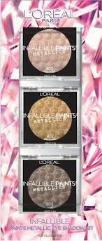 the second set is the l oreal infallible paints metallic eyeshadow kit 18 99 which includes three full size infallible paints metallic eyeshadows in