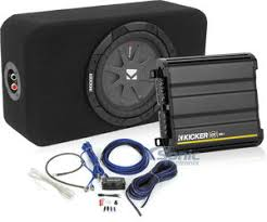 kicker complete ultra compact amplified subwoofer system single  kicker complete ultra compact amplified subwoofer system