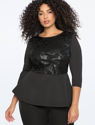 faux leather embellished peplum top
