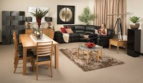 rug under coffee table. rectangle wooden dining table with shag rug under the round coffee and black leather c