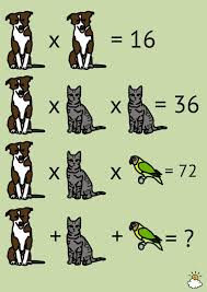 each animal represents a number can you solve the problem that  fun math problems
