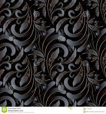 Dark Black 3d Vintage Floral Seamless ...