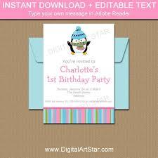 Girl Birthday Invitation Template Editable Winter Birthday Invitation Printable Girl