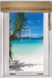 wall decal faux window tropical beach view by windazzle on