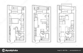 architecture design house drawing. Architectural Plan Of A House. Layout The Apartment With Furniture In Drawing View. Kitchen And Bathroom, Living Room Bedroom. Architecture Design House
